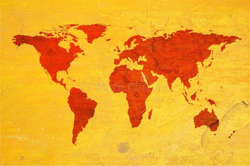 De kaart van de wereld over geweven achtergrond stock fotografie