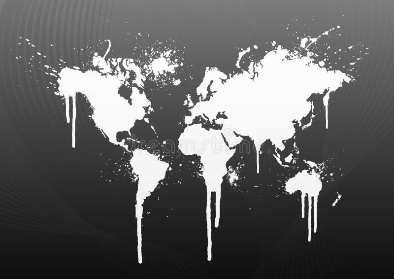 De kaart van de wereld ploetert
