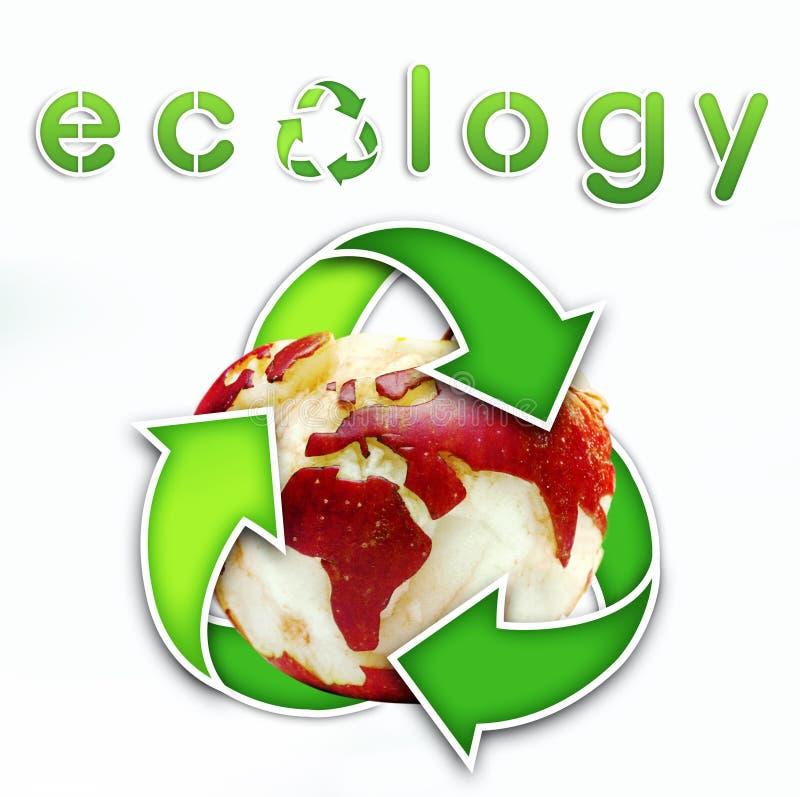 De kaart van de Wereld van de ecologie op een appel stock foto's