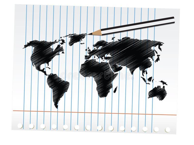 De Kaart van de Wereld van het gekrabbel stock illustratie