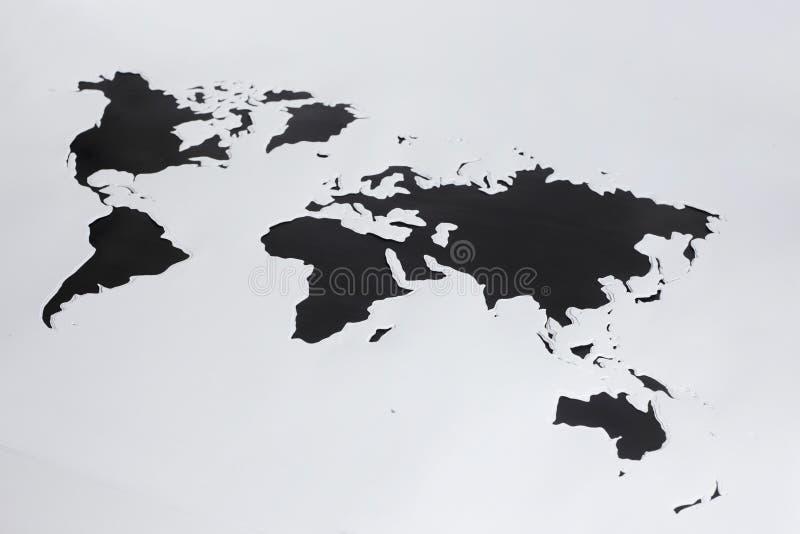 De kaart van de wereld Verwijderd document royalty-vrije stock fotografie