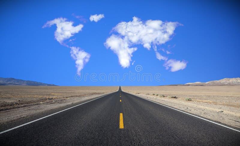 De kaart van de wereld in wolkenvorming. royalty-vrije stock fotografie