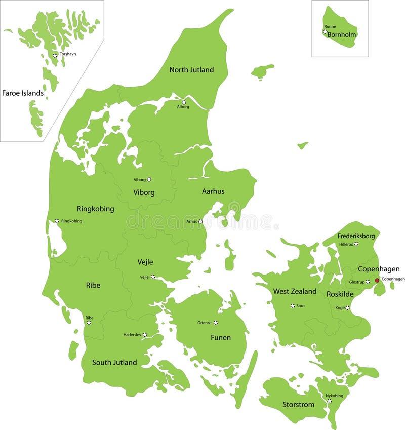 De kaart van Denemarken