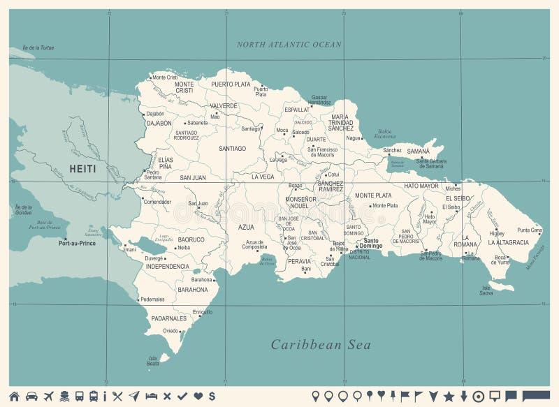De Kaart van de Dominicaanse Republiek - Wijnoogst Gedetailleerde Vectorillustratie royalty-vrije illustratie