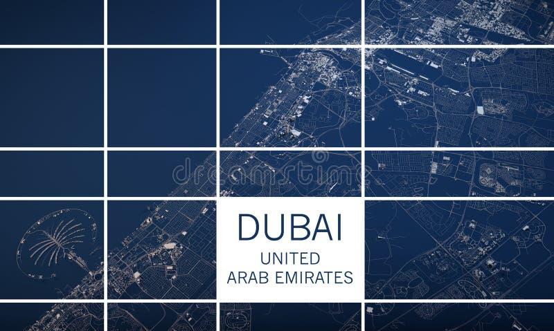 De kaart van Doubai, satellietmening, Verenigde Arabische Emiraten stock illustratie