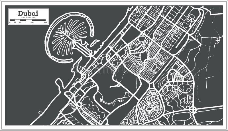 De Kaart van Doubai de V.A.E in Retro Stijl stock illustratie