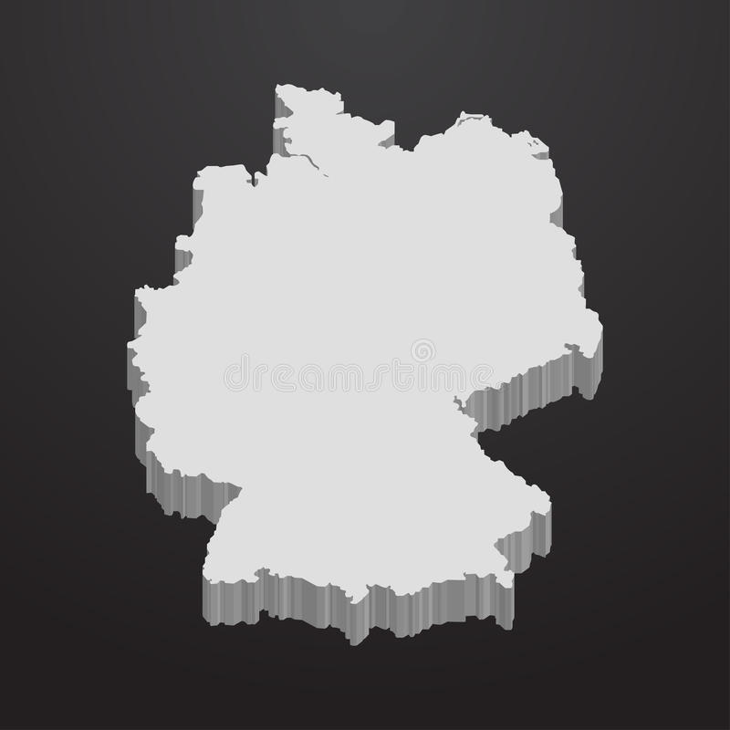 De kaart van Duitsland in grijs op een zwarte 3d achtergrond royalty-vrije illustratie