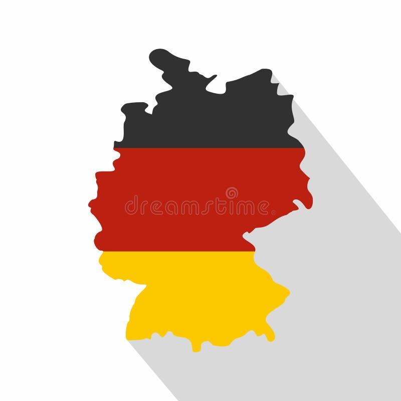De kaart van Duitsland met nationaal vlagpictogram, vlakke stijl stock illustratie