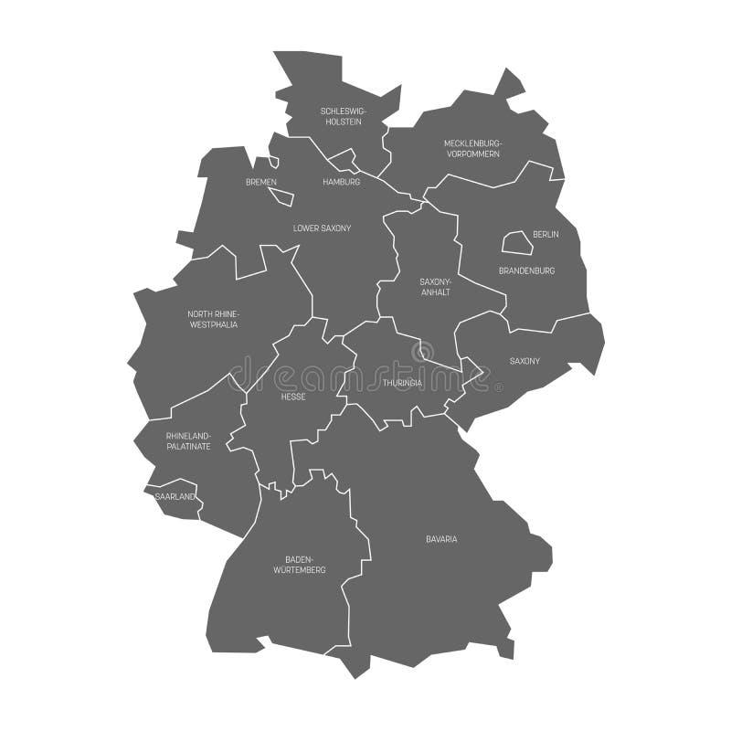 De kaart van Duitsland verdeelde aan 13 staten en 3 city-states - Berlijn, Bremen en Hamburg, Europa Eenvoudig vlak grijs stock illustratie