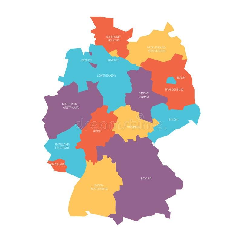 De kaart van Duitsland verdeelde aan 13 staten en 3 city-states - Berlijn, Bremen en Hamburg, Europa Eenvoudige vlakke vector vector illustratie