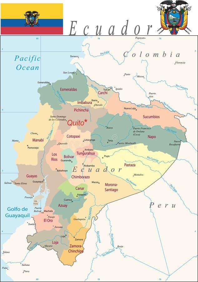 De Kaart van Ecuador. stock illustratie