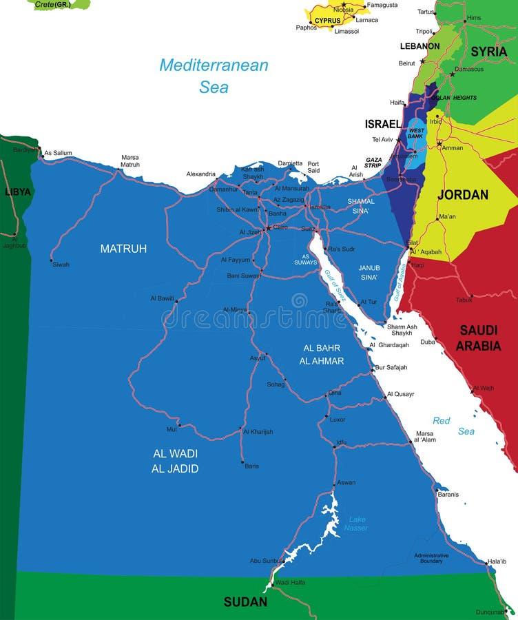 De kaart van Egypte royalty-vrije illustratie