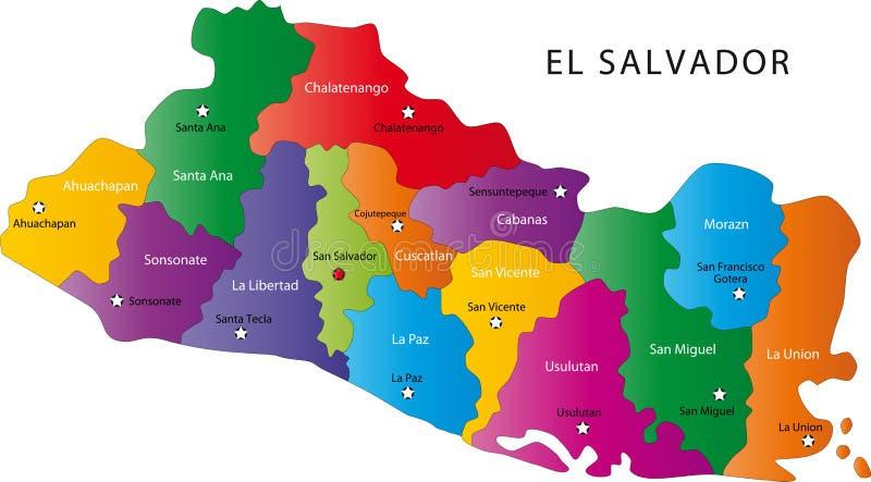 De kaart van El Salvador royalty-vrije illustratie
