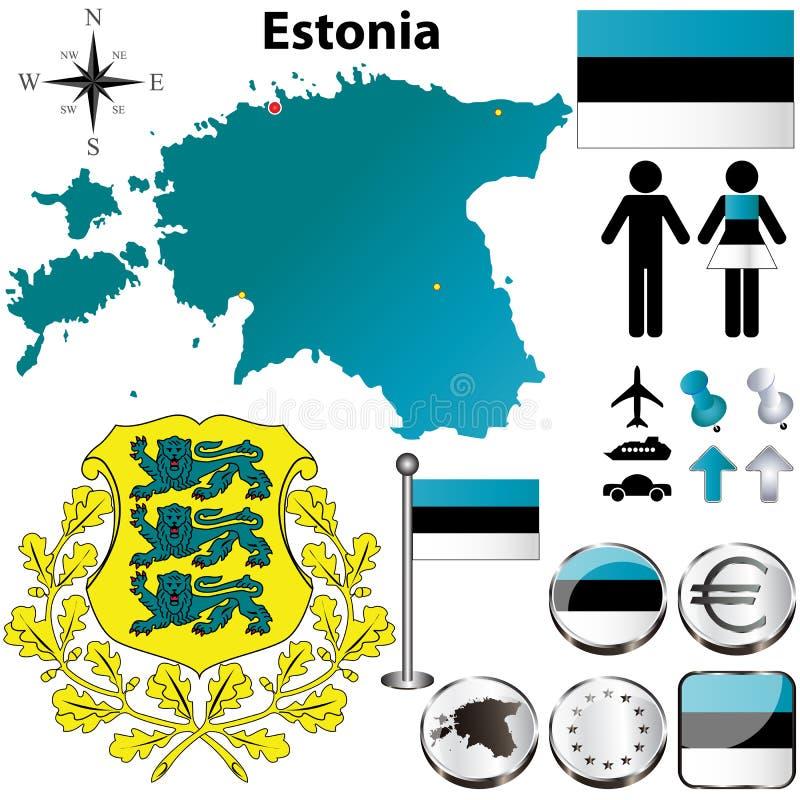De kaart van Estland royalty-vrije illustratie