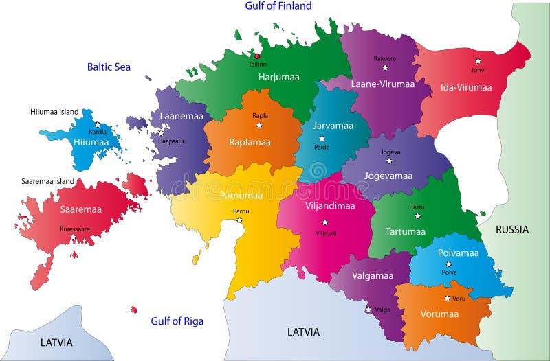 De kaart van Estland stock illustratie