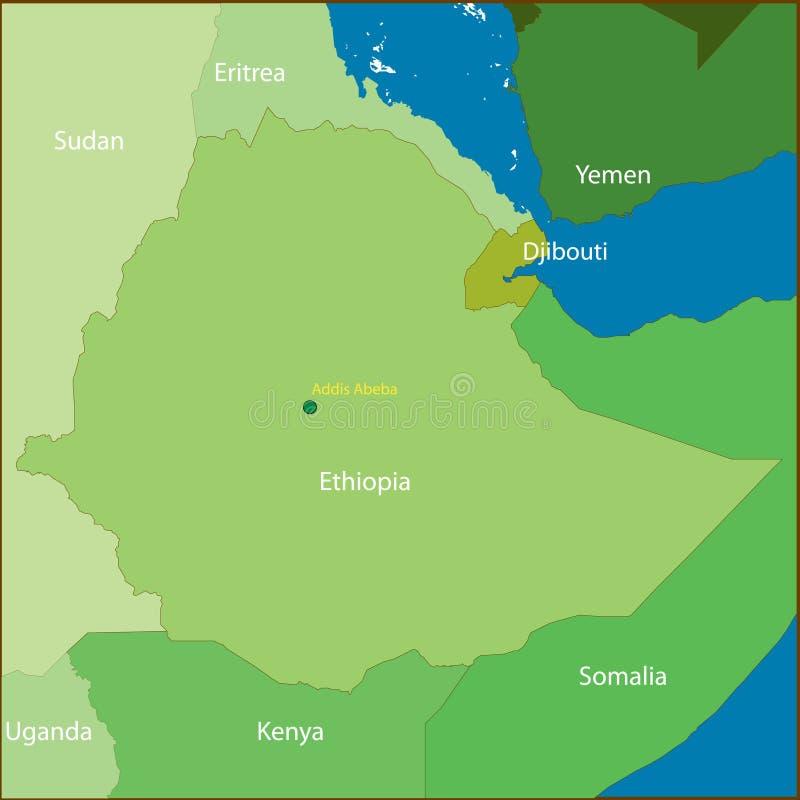 De Kaart van Ethiopië. stock illustratie