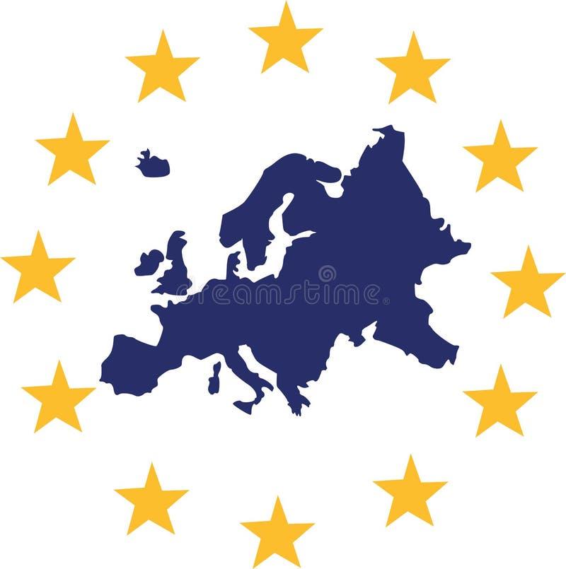 De kaart van Europa met Europese sterren vector illustratie