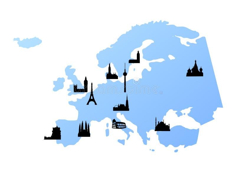 De kaart van Europa met oriëntatiepunten stock illustratie