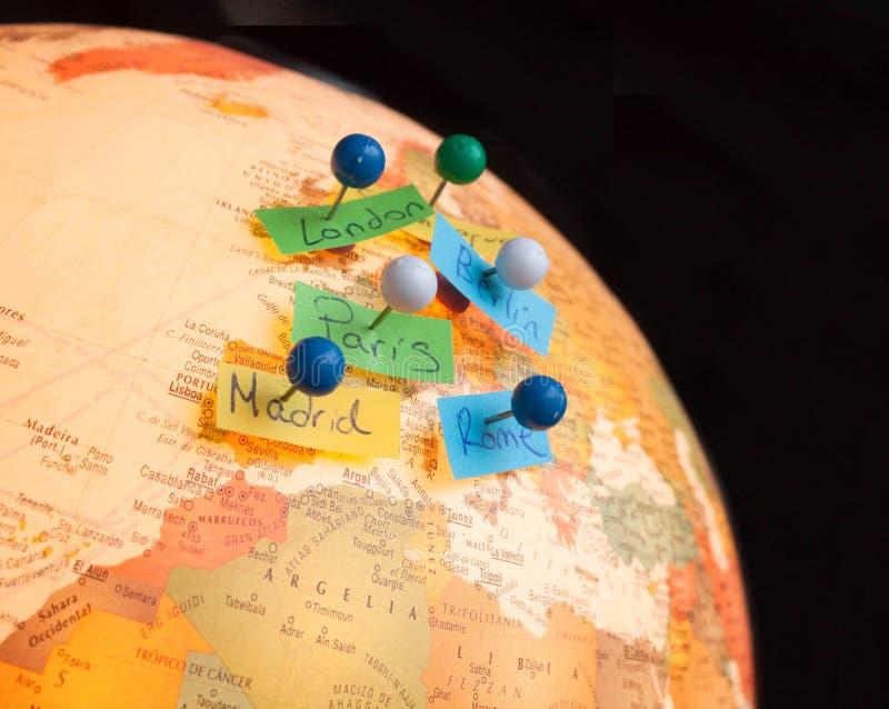 De kaart van Europa met reisplan stock fotografie