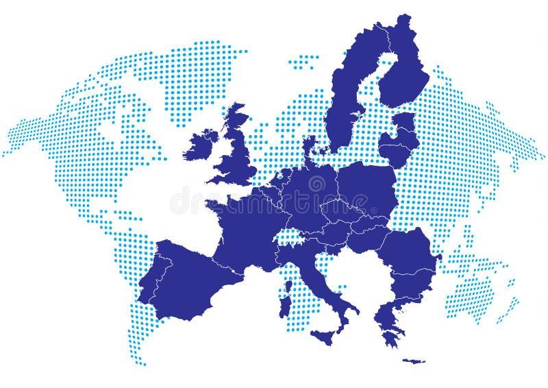 De kaart van Europa met wereldkaart