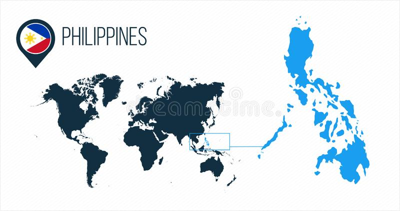 De kaart van Filippijnen op een wereldkaart wordt gevestigd met vlag en kaartwijzer of speld die Infographickaart Vectordieillust stock illustratie