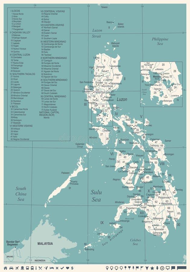 De Kaart van Filippijnen - Wijnoogst Gedetailleerde Vectorillustratie royalty-vrije illustratie