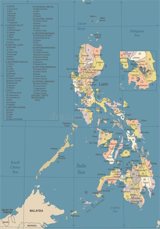 De Kaart van Filippijnen - Wijnoogst Gedetailleerde Vectorillustratie stock illustratie