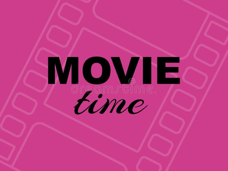 De kaart van de filmtijd op roze achtergrond met filmstrip royalty-vrije illustratie