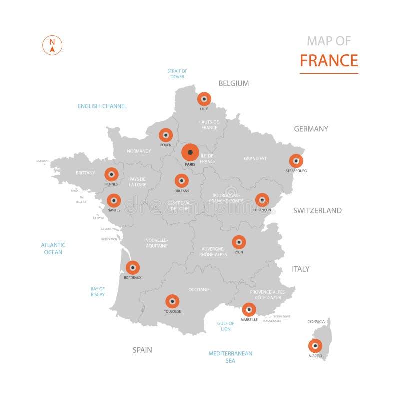 De kaart van Frankrijk met administratieve afdelingen stock illustratie