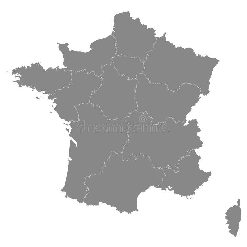 De kaart van Frankrijk met grenzen van de gebieden Vectorillustratie van h royalty-vrije illustratie