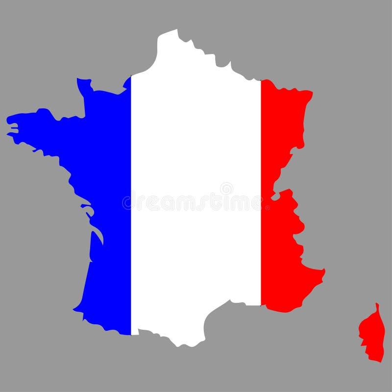 De kaart van Frankrijk met de vlag van Frankrijk op het stock illustratie