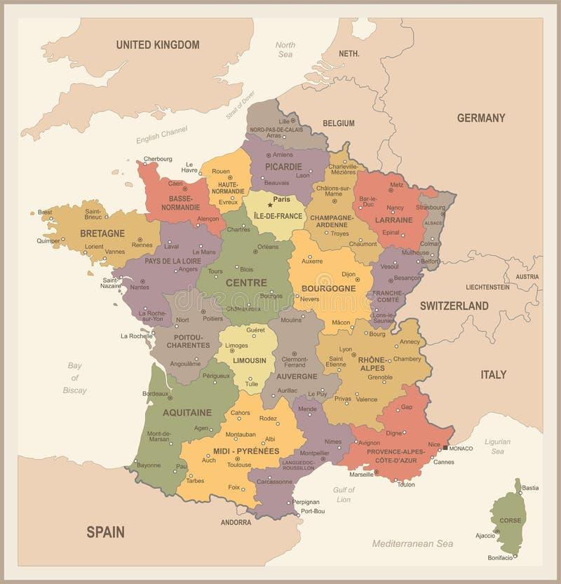 De Kaart van Frankrijk - Uitstekende Vectorillustratie stock illustratie
