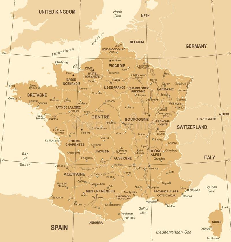 De Kaart van Frankrijk - Uitstekende Vectorillustratie royalty-vrije illustratie