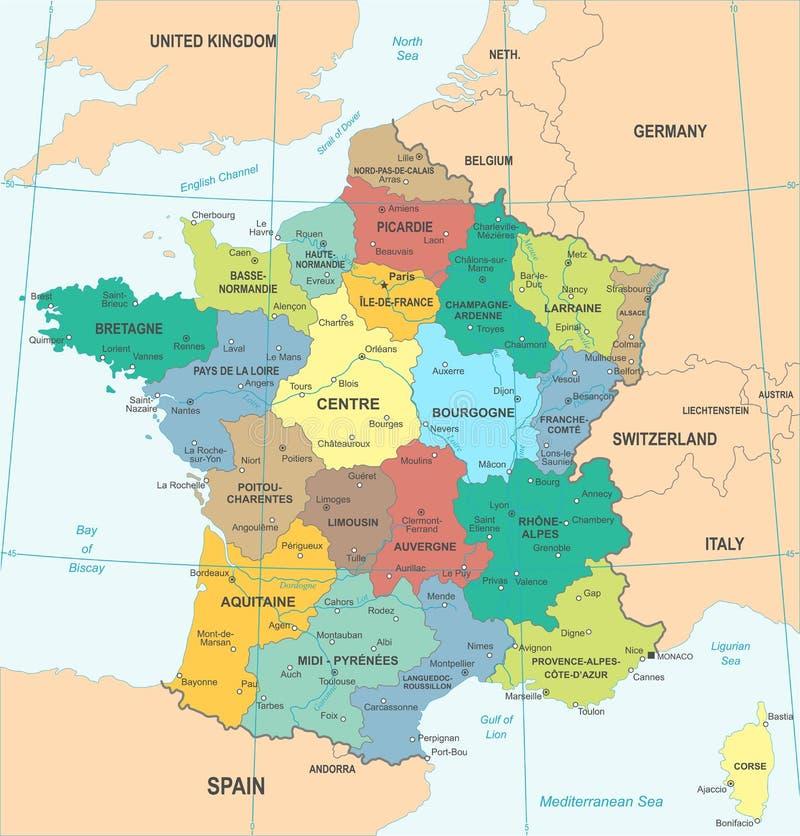 De Kaart van Frankrijk - Vectorillustratie stock illustratie