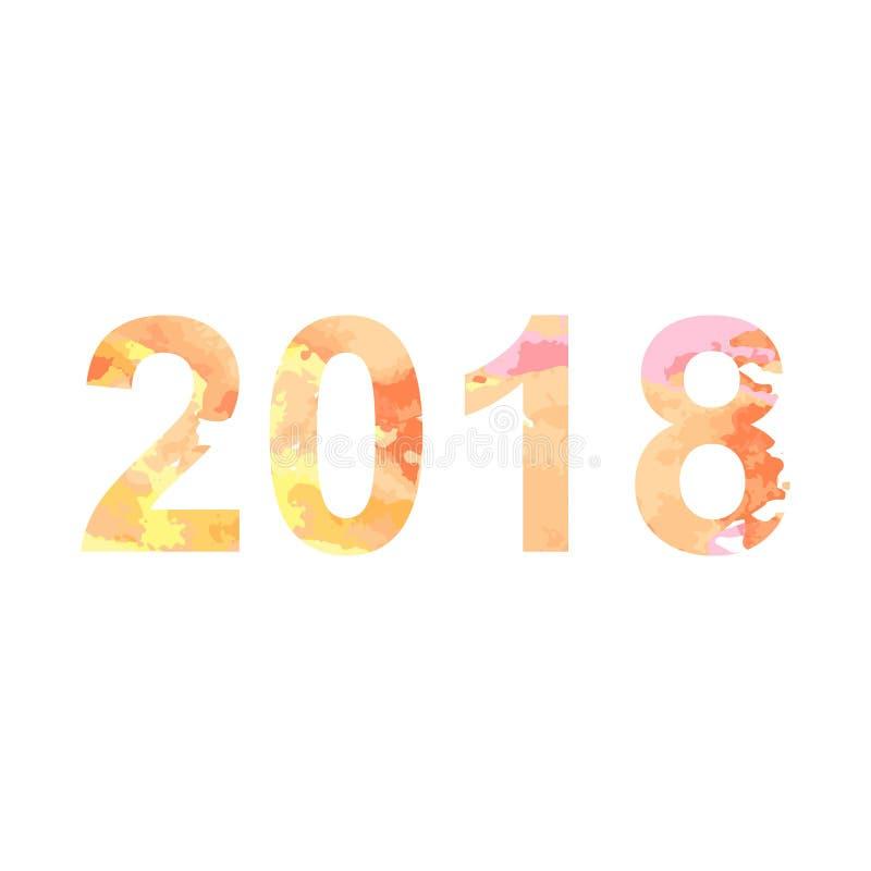 De kaart van de gelukwens Gelukkig nieuw jaar 2018 Hondsnuit stock illustratie