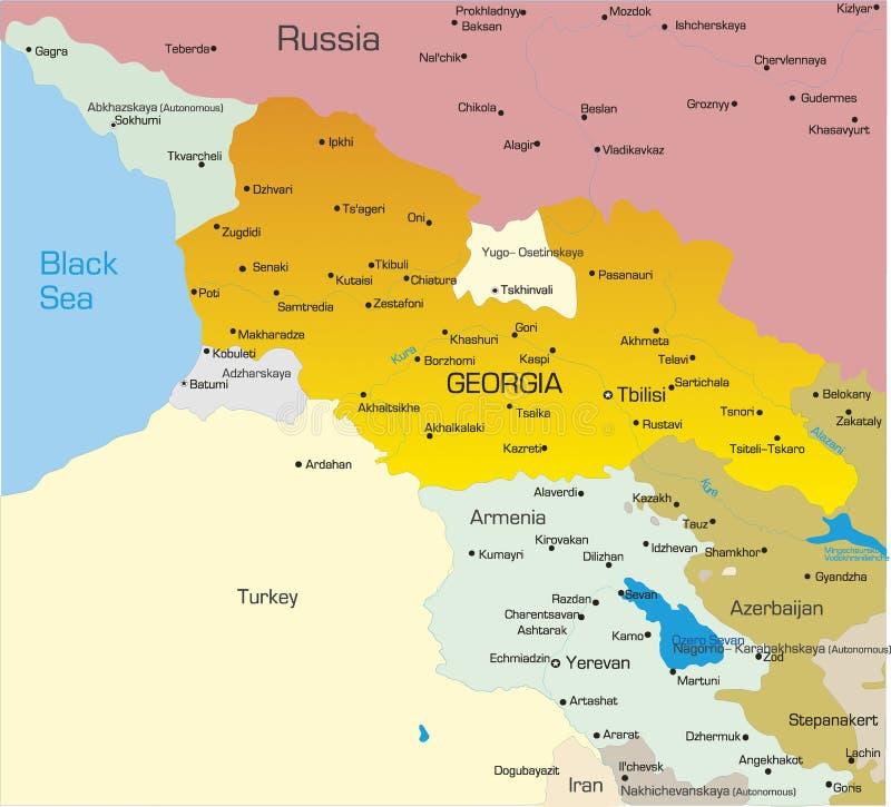 De kaart van Georgië vector illustratie