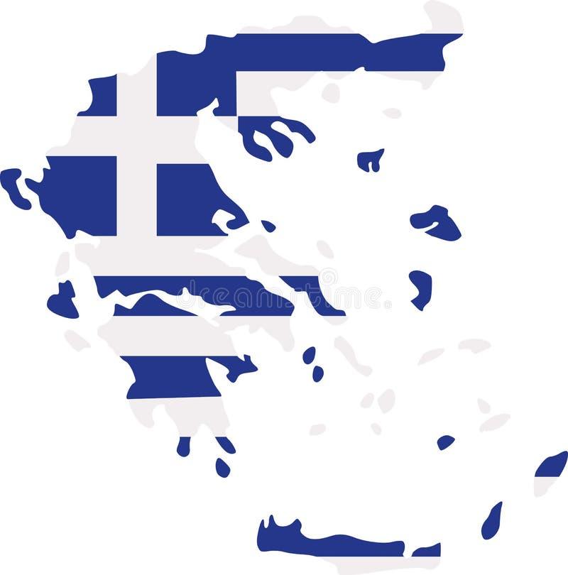 De kaart van Griekenland met vlag stock illustratie