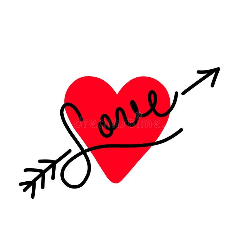 De Kaart van de Groet van de Dag van valentijnskaarten Liefdeontwerp Het met de hand gemaakte van letters voorzien Vector illustr stock afbeelding