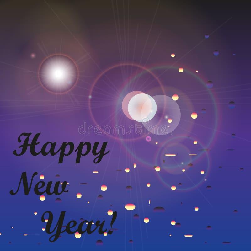 De kaart van de groet Gelukkig Nieuwjaar Eind van het jaar absract vector illustratie
