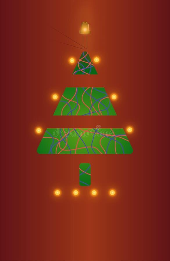 De kaart van de groet met Kerstmisboom royalty-vrije stock foto's
