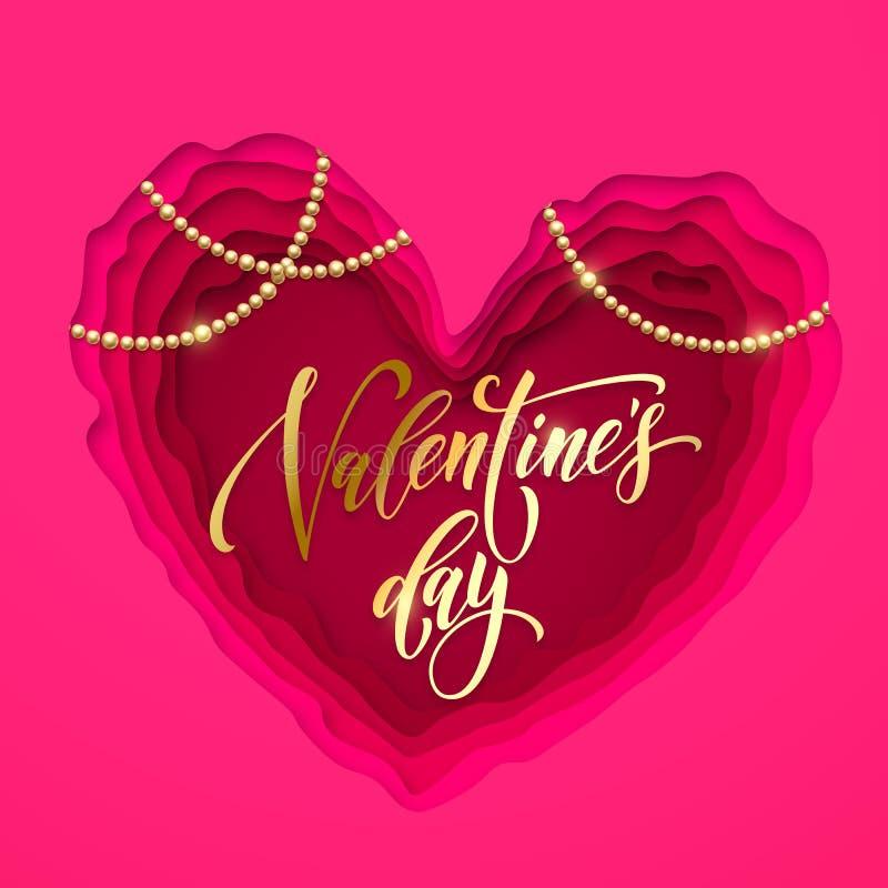 De kaart van de de groettekst van de valentijnskaartendag gouden en Valentine-hart papercut modern vectorkaartontwerp Het roze en stock illustratie