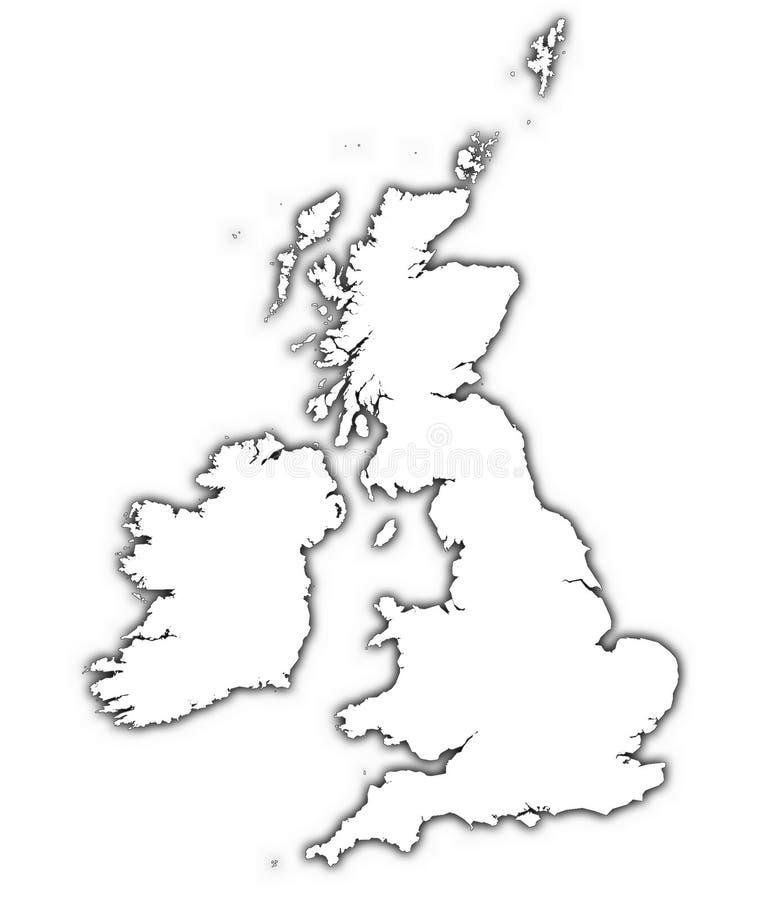 De kaart van Groot-Brittannië met schaduw royalty-vrije illustratie
