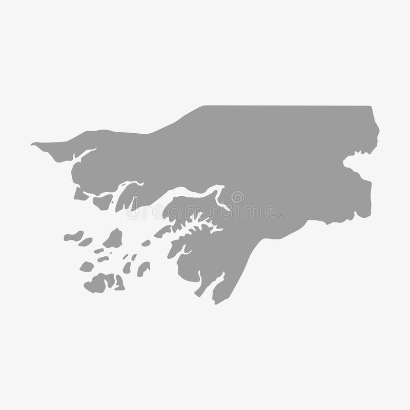De kaart van Guinea-Bissau in grijs op een witte achtergrond vector illustratie