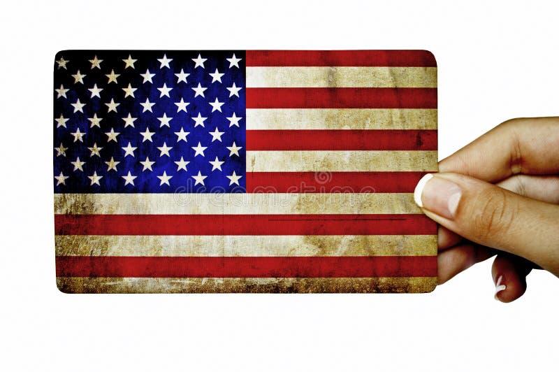De kaart van de handholding grunge met Amerikaanse vlag royalty-vrije stock afbeeldingen