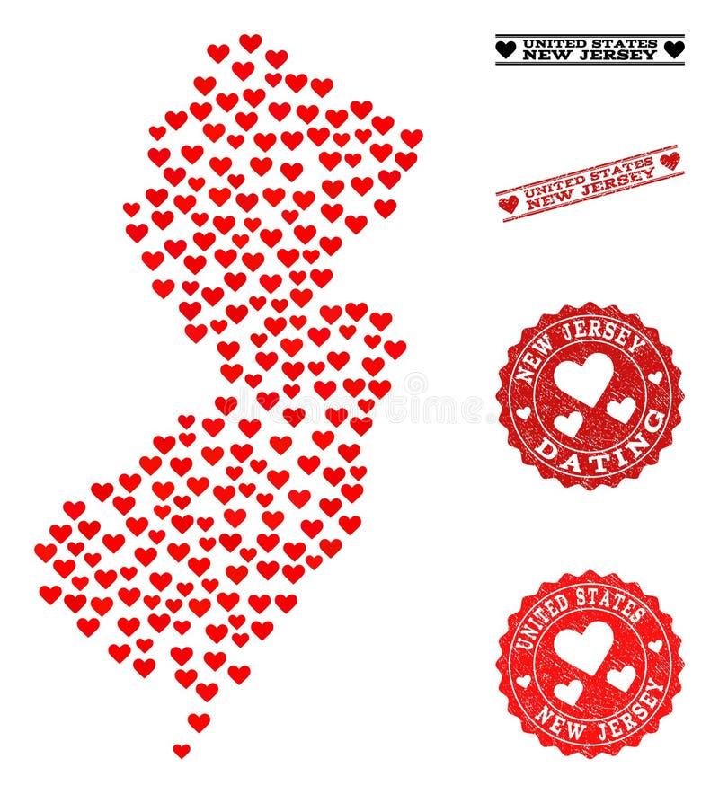 De Kaart van de hartcollage van de Zegels van de Staat en van Grunge van New Jersey voor Valentijnskaarten vector illustratie
