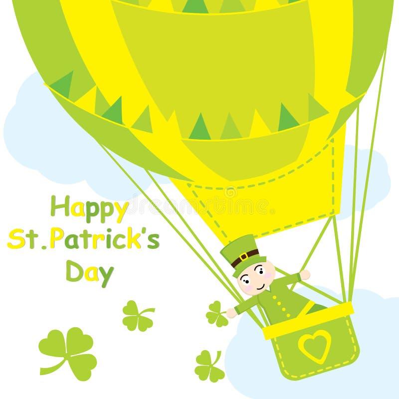 De kaart van heilige Patrick Day ` s met leuke mier in hete luchtballon en klaver gaat weg stock illustratie
