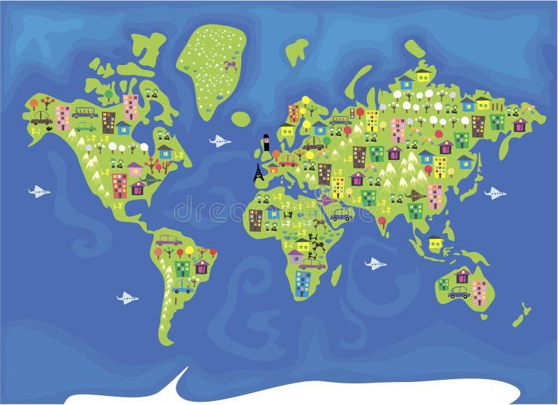 De kaart van het beeldverhaal van de wereld stock illustratie