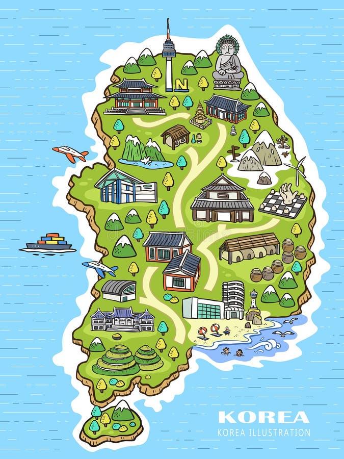 De kaart van het de reisconcept van Korea stock illustratie