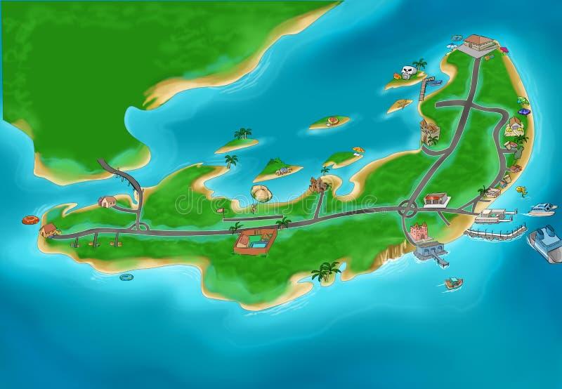 De kaart van het eiland vector illustratie