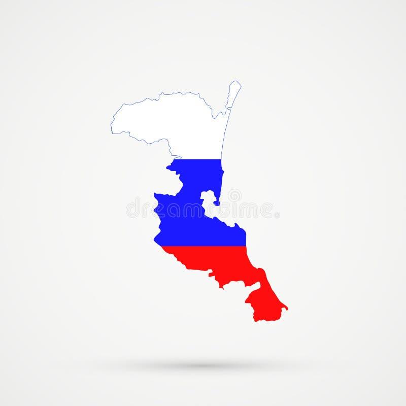 De kaart van het etnische grondgebied van Kumykiakumyks, Dagestan in de vlagkleuren van Rusland, editable vector royalty-vrije illustratie